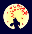 dog was howling to the moon a small red heart vector image vector image