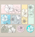 elegant cards with floral poppy bouquets vector image vector image