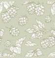 elegant seamless pattern with hop flowers hand vector image