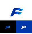 f letter monogram blue forward emblem vector image vector image