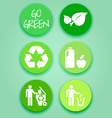 Flat-green-sticker-set vector image vector image