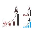 fragmented pixel halftone rocket business start vector image vector image