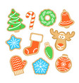 gingerbread christmas cookies with sugar icing vector image vector image