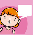 girl with blank bubble speech cartoon vector image
