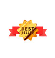 glossy badge with red tape golden best seller vector image