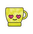 grated coffee cup in love kawaii cartoon vector image vector image
