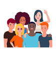 group portrait happy teen friends vector image