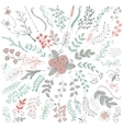 Hand Sketched Rustic Floral Doodle Branches vector image vector image