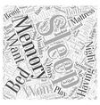 Having a Good Sleep with Memory Foam Mattress Word vector image vector image