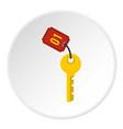 hotel room key icon circle vector image