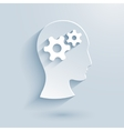Human head with gears paper icon vector image