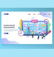 kanban board management website landing vector image vector image