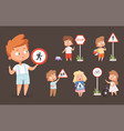 kids rules road school people with traffic signs vector image vector image