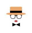 lady avatar in hat lips glasses and a bow tie vector image vector image