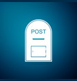 mail box icon post box icon on blue background vector image vector image
