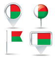 Map pins with flag of Madagascar vector image vector image