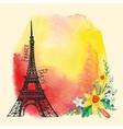 Paris cardEiffel towerWatercolor stainNarcissus vector image