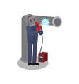 professional welder repairing large iron pipe man vector image vector image