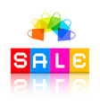 Sale Title and Colorful Shopping Bags vector image vector image