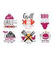 set minimalistic logos for barbecue and grill vector image vector image