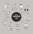 set of pets animal icon hand draw doodle style vector image vector image