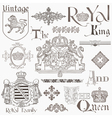 set vintage royalty design elements vector image