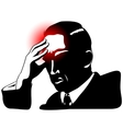 Silhouette of man with headache vector image