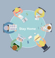 stay home with family at table vector image