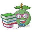 student with book guava mascot cartoon style vector image vector image