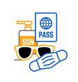 sunglasses mask passport and sunscreen travel icon vector image vector image