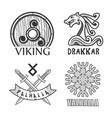 viking drakkar and valhalla monochrome isolated vector image vector image