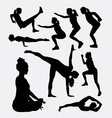 Workout male and female sport silhouette vector image vector image