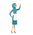 young muslim cleaner pointing with her forefinger vector image vector image