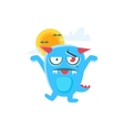 Zombie Blue Monster With Horns And Spiky Tail vector image vector image
