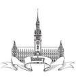 hamburg landmark town hall germany europe hand vector image