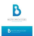 Letter B with molecules vector image