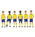 flat school football soccer young guys team vector image