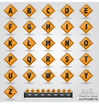 Traffic Sign Alphabets Font Style vector image