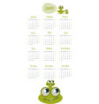 2019 cartoon style childish calendar frog and vector image vector image