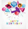 birthday background with gift box and confetti vector image vector image