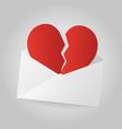 broken heart in white envelope on gray background vector image vector image
