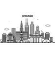 chicago city tour cityscape skyline line outline vector image