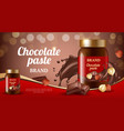 chocolate cream ads delicious sweet brown paste vector image vector image