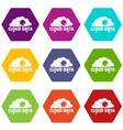 cloud data icons set 9 vector image