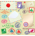 Collection of Christmas stamps envelops labels vector image vector image