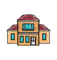 color crayon stripe cartoon facade two house vector image vector image