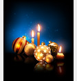 composition of christmas balls and candles on a vector image