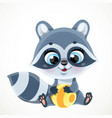 cute cartoon baby raccoon with stripped ball sit vector image vector image
