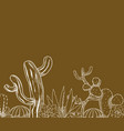 desert landscape hand drawn cartoon vector image