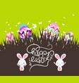 easter eggs and bunny with grass vector image vector image